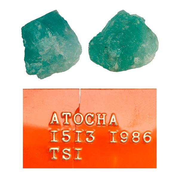 Natural emerald, 6.75 carats, class 1C, ex-Atocha (1622).