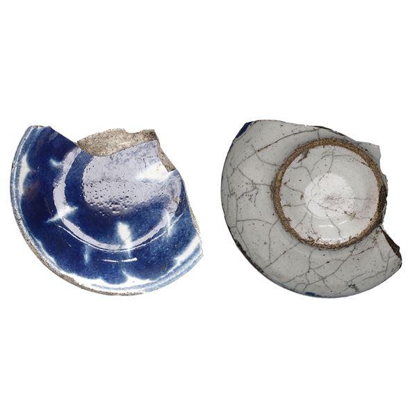 Fragment of small Chinese blue-on-white porcelain saucer, Kangxi, ex-1715 Fleet.