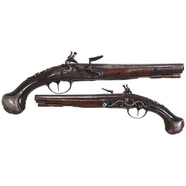 """Dutch flintlock holster pistol signed [Beckers] """"A Mastricht,"""" ca. 1730."""