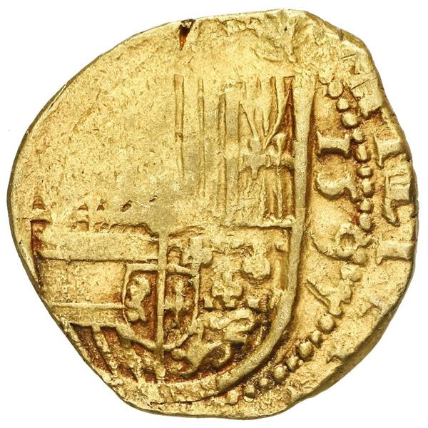 Seville, Spain, cob 2 escudos, 1595 date to right, assayer not visible (B to left below mintmark S).
