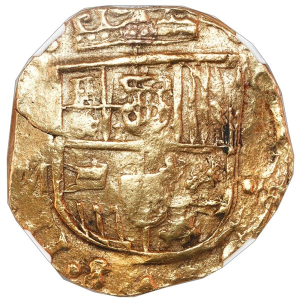 Seville, Spain, cob 8 escudos, Charles II, assayer M, NGC AU details / plugged.