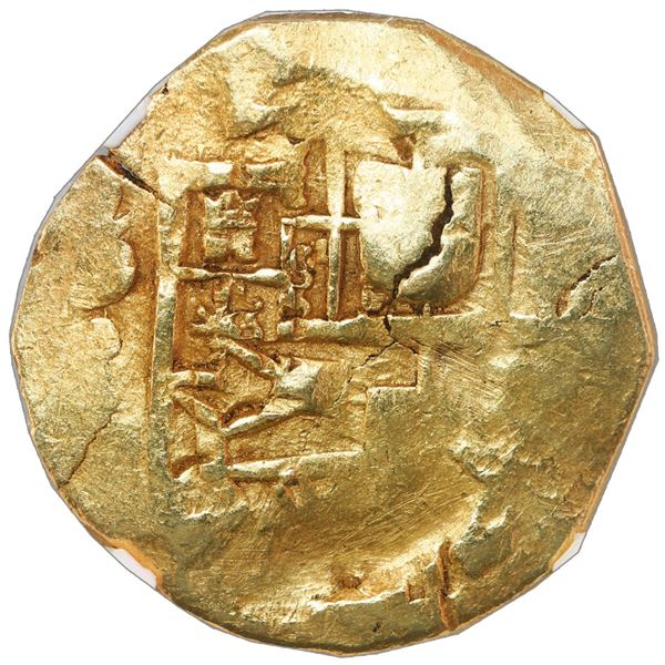 Seville, Spain, cob 8 escudos, Charles II, assayer not visible, NGC XF details / scratches.