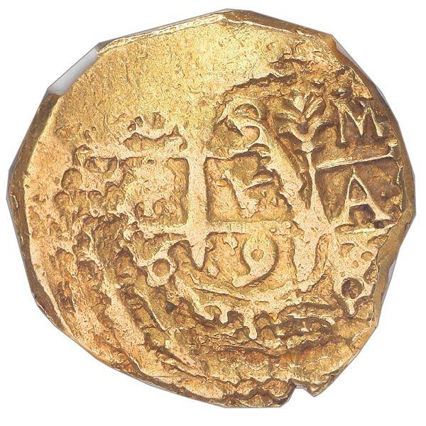 Cuzco, Peru, cob 2 escudos, 1698 M, small flan, NGC UNC details / cleaned, ex-1715 Fleet (designated