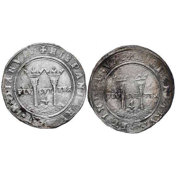 """Lot of two Mexico City, Mexico, 4 reales, Charles-Joanna, """"Late Series,"""" assayers G and L."""