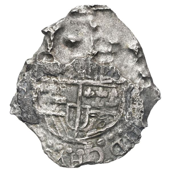 Potosi, Bolivia, cob 8 reales, 1619 (T), quadrants of cross transposed, Grade 4.