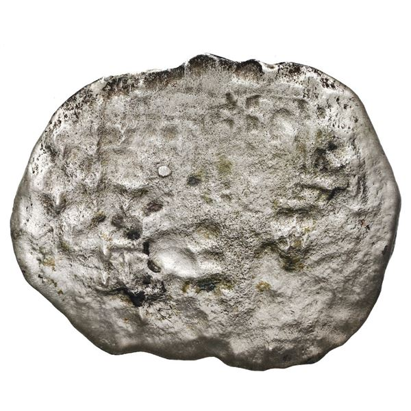 """Potosi, Bolivia, cob 8 reales, Philip III, assayer not visible, Grade 4 (""""1 point""""), with hand-signe"""