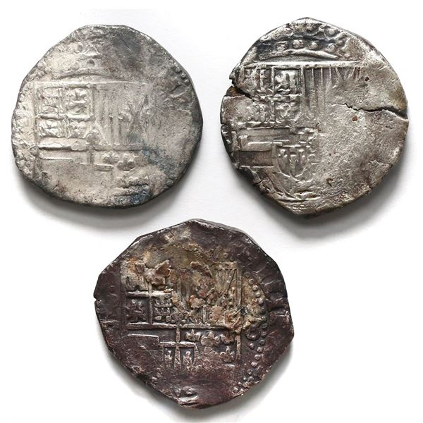 Lot of three Potosi, Bolivia cob 8 reales, Philip IV, assayer not visible.