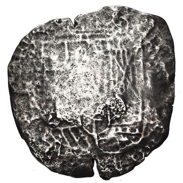 Potosi, Bolivia, cob 8 reales, 1650 O, with pentagonal crowned-1652 (Mastalir P52) countermark on cr