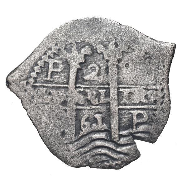 Potosi, Bolivia, cob 2 reales, 1661 E.