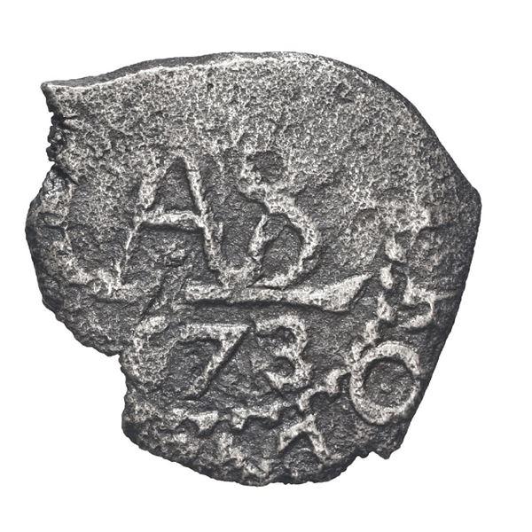 Potosi, Bolivia, cob 1/2 real, 1673.