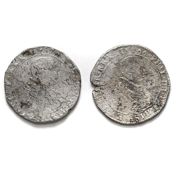 Lot of two Flanders, Spanish Netherlands, portrait ducatoons of Philip IV: 1652 and 1666.
