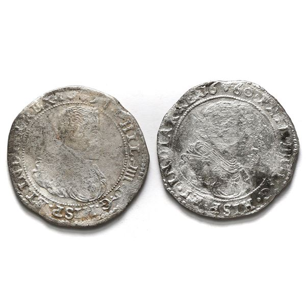 Lot of two Brabant, Spanish Netherlands (Brussels Mint), portrait ducatoons of Philip IV: 1657 and 1