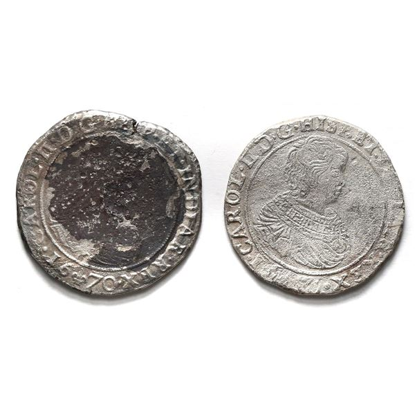 Lot of two Flanders, Spanish Netherlands, portrait ducatoons of Charles II: 1670 and 1671.