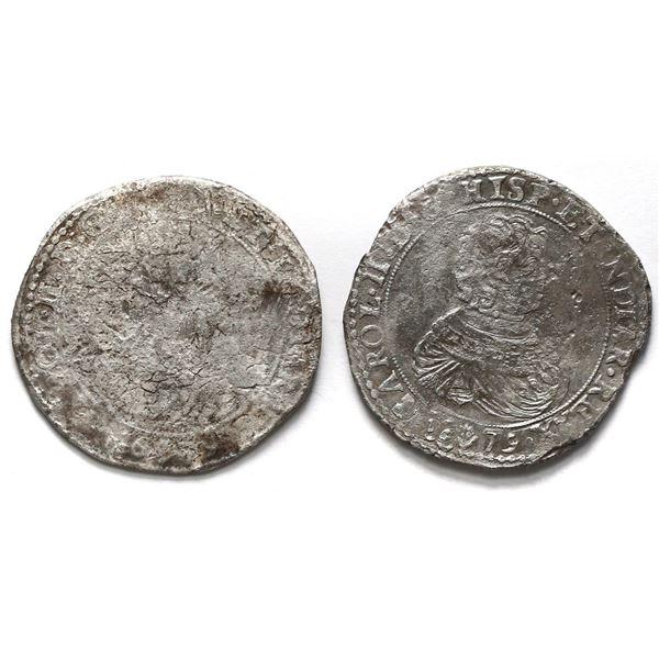 Lot of two Brabant, Spanish Netherlands (Antwerp Mint), portrait ducatoons, Charles II, 1679.