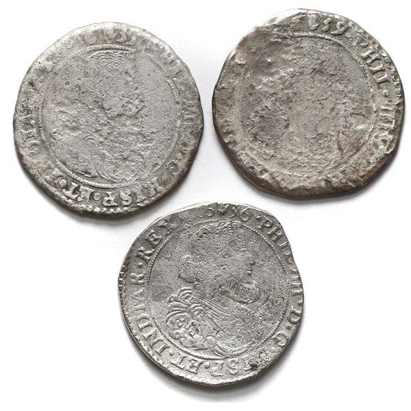 Lot of three Brabant, Spanish Netherlands (Antwerp Mint), portrait ducatoons of Philip IV: 1633, 163