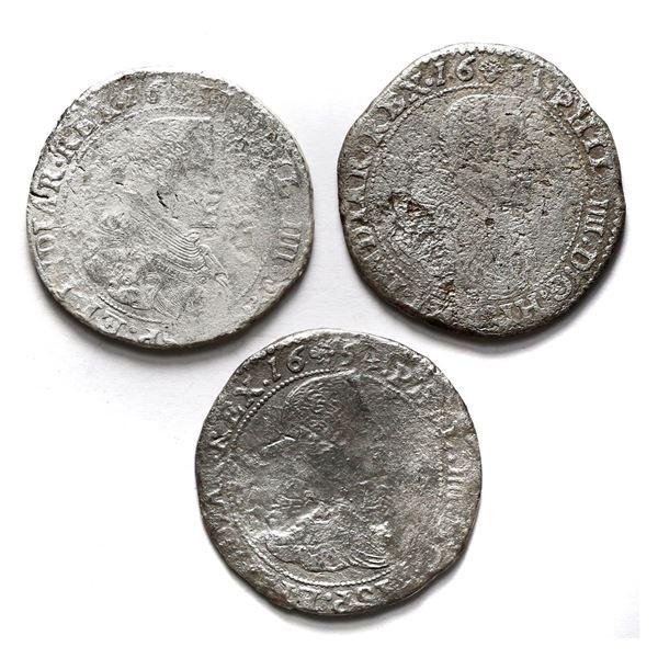 Lot of three Brabant, Spanish Netherlands (Brussels Mint), portrait ducatoons of Philip IV: 1637, 16