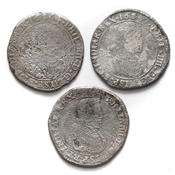 Lot of three Brabant, Spanish Netherlands (Antwerp Mint), portrait ducatoons of Philip IV: 1644, 164