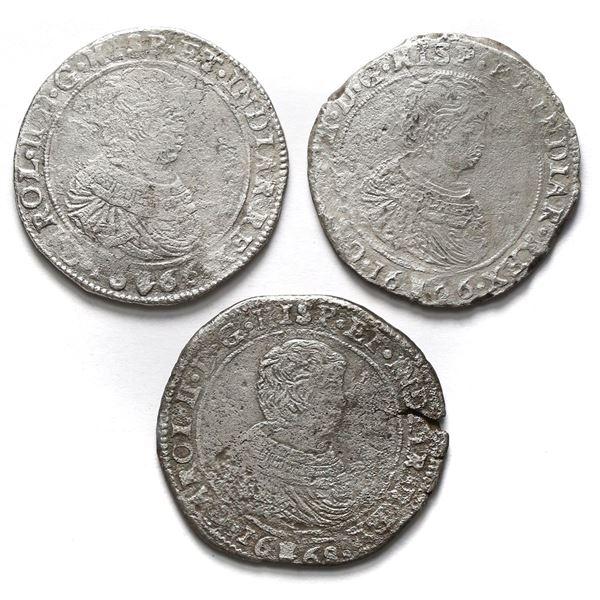 Lot of three Brabant, Spanish Netherlands (Antwerp Mint), portrait ducatoons of Charles II: 1666 (tw