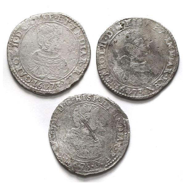 Lot of three Brabant, Spanish Netherlands (Antwerp Mint), portrait ducatoons of Charles II: 1673 (tw