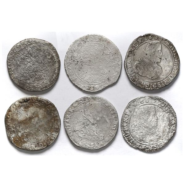 Lot of six Spanish Netherlands, portrait ducatoons, some mints and/or dates visible.