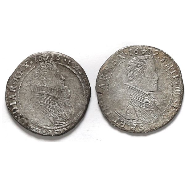 Lot of two Brabant, Spanish Netherlands (Antwerp Mint), portrait 1/2 ducatoons of Philip IV: 1636 an
