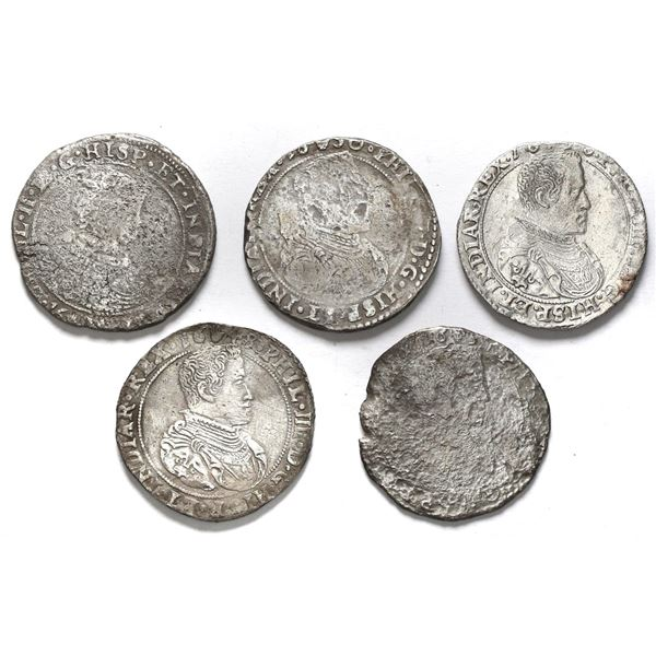 Lot of five Spanish Netherlands portrait 1/2 ducatoons, some mints and/or dates visible.