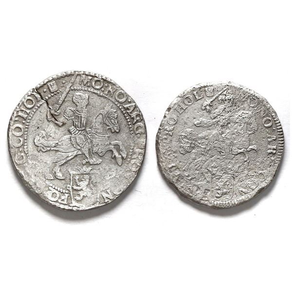 """Lot of two Holland, United Netherlands, """"rider"""" ducatoons: 1668 and 1676."""