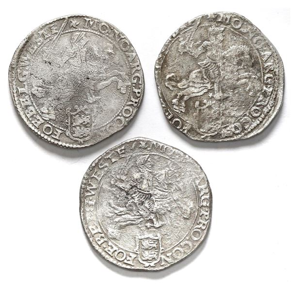 """Lot of three Westfriesland, United Netherlands, """"rider"""" ducatoons: 1659, 1661, and 1664."""