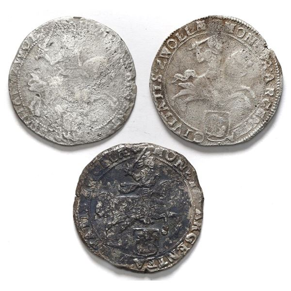 """Lot of three Zwolle, United Netherlands, """"rider"""" ducatoons: 1659, 1669, and 1676."""