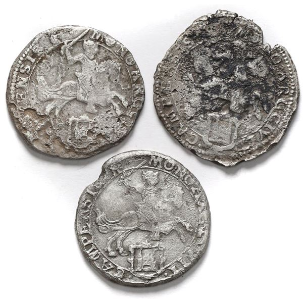 """Lot of three Campen, United Netherlands, """"rider"""" ducatoons: 1667 (two) and 1668."""