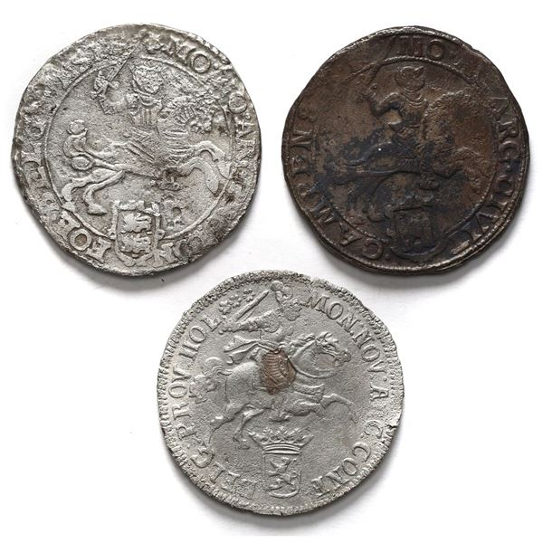 """Lot of three United Netherlands, """"rider"""" ducatoons, various mints and dates: Campen 1668, Westfriesl"""