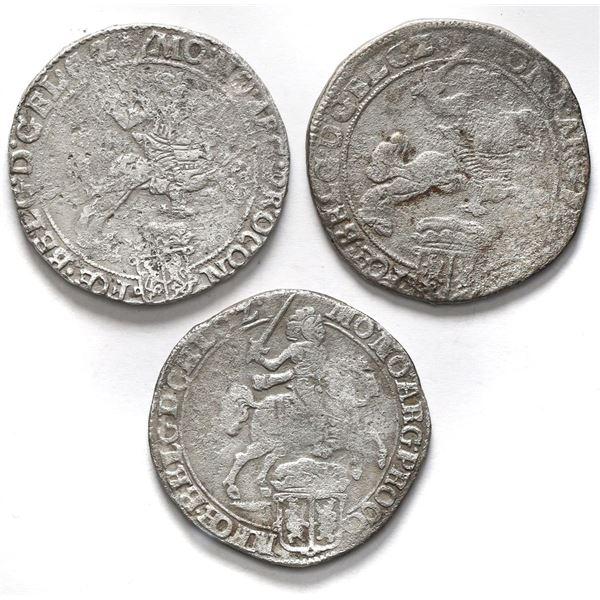 "Lot of three Gelderland, United Netherlands, ""rider"" ducatoons: 1670, 1674, and 1680."