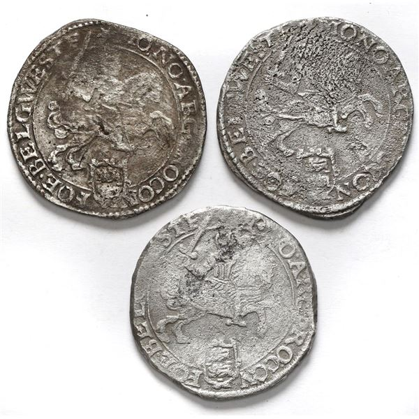 """Lot of three Westfriesland, United Netherlands, """"rider"""" ducatoons: 1670 and 1672 (two)."""