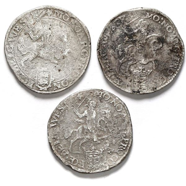 """Lot of three Westfriesland, United Netherlands, """"rider"""" ducatoons: 1673, 1678, and 1679."""