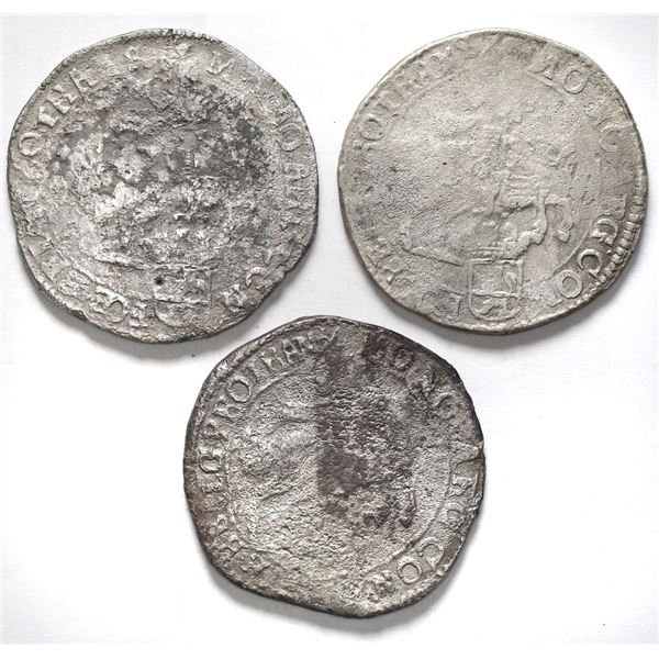 """Lot of three Overijssel, United Netherlands, """"rider"""" ducatoons: 1676 (two) and 1677."""