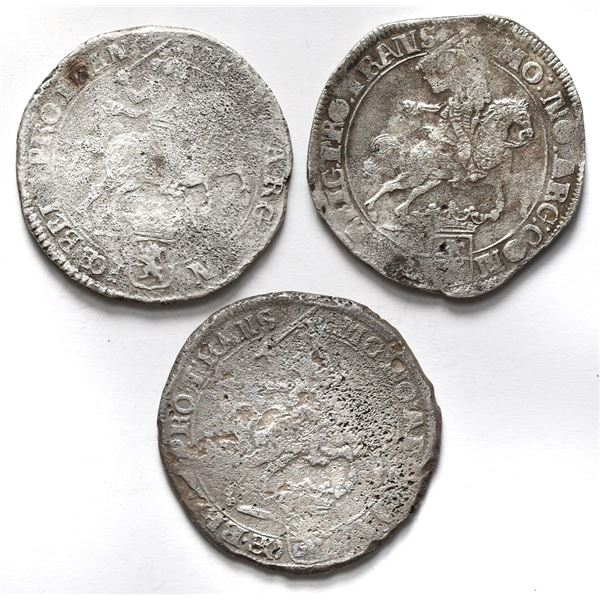 "Lot of three Overijssel, United Netherlands, ""rider"" ducatoons: 1677, 1679, and 1680."