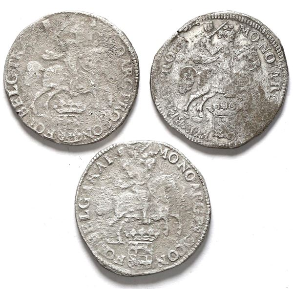 """Lot of three Utrecht, United Netherlands, """"rider"""" ducatoons: 1679 (two) and 1680."""