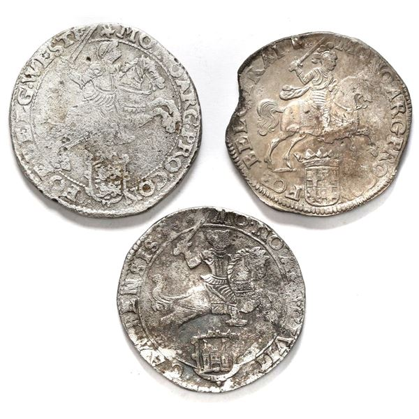 """Lot of three United Netherlands """"rider"""" ducatoons, various mints and dates: Campen 1679, Utrecht 167"""