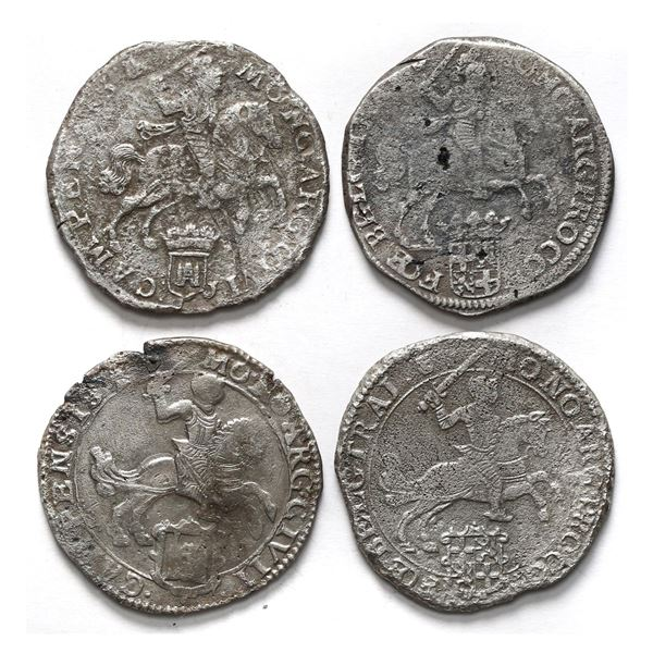 """Lot of four United Netherlands, """"rider"""" ducatoons , some mints and/or dates visible."""