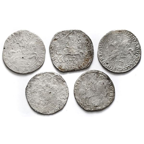 """Lot of five United Netherlands, """"rider"""" ducatoons, some mints and/or dates visible."""