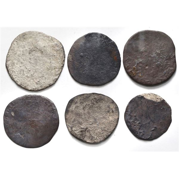 Lot of six Spanish or United Netherlands ducatoons, dark and encrusted as found.