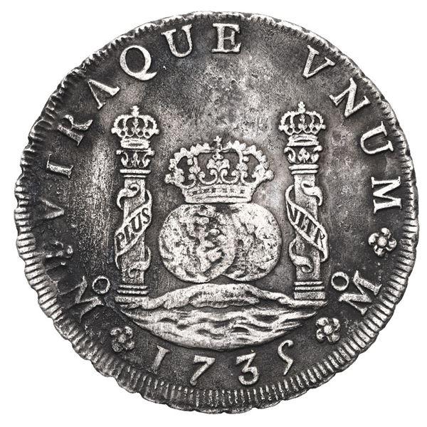 Mexico City, Mexico, pillar 8 reales, Philip V, 1735 MF.