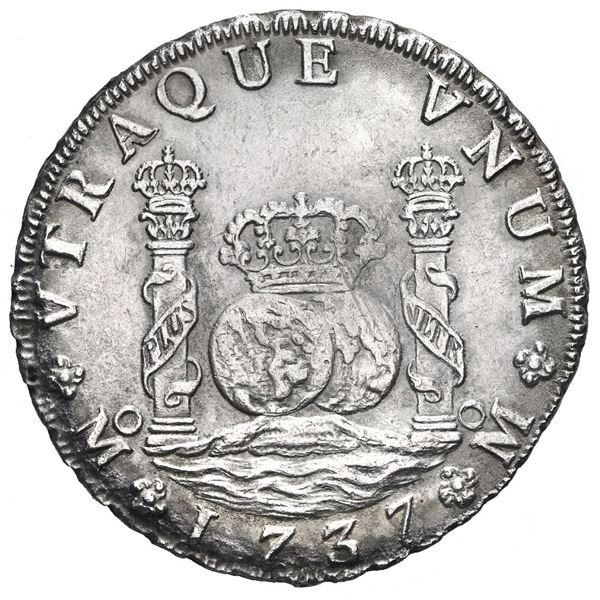 Mexico City, Mexico, pillar 8 reales, Philip V, 1737 MF.