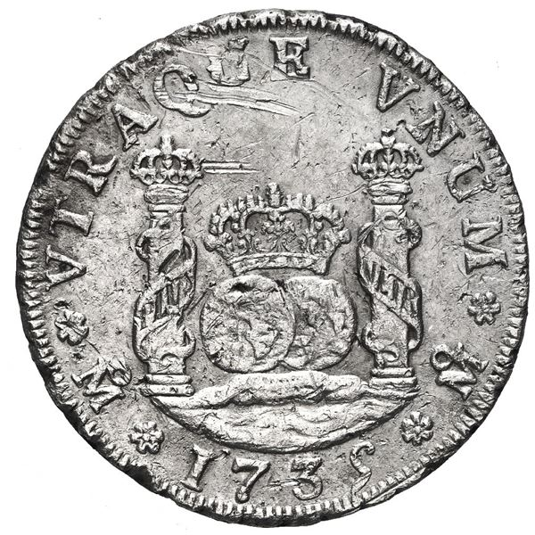 Mexico City, Mexico, pillar 4 reales, Philip V, 1735 MF.
