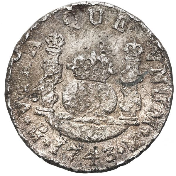 Mexico City, Mexico, pillar 2 reales, Philip V, 1743 M, ex-Peterson (1979).