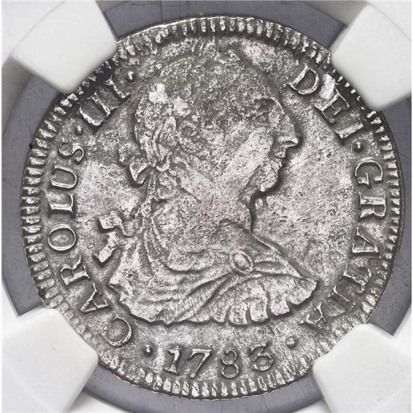 Mexico City, Mexico, bust 2 reales, Charles III, 1783 FF, NGC genuine / El Cazador.