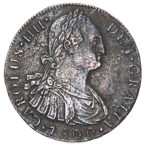 Lima, Peru, bust 8 reales, Charles IV, 1800 IJ, ex-Haskins (1990).