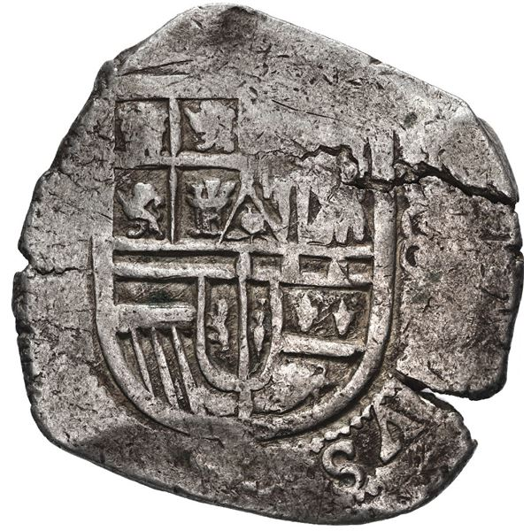 Mexico City, Mexico, cob 8 reales, Philip II, assayer not visible (F).