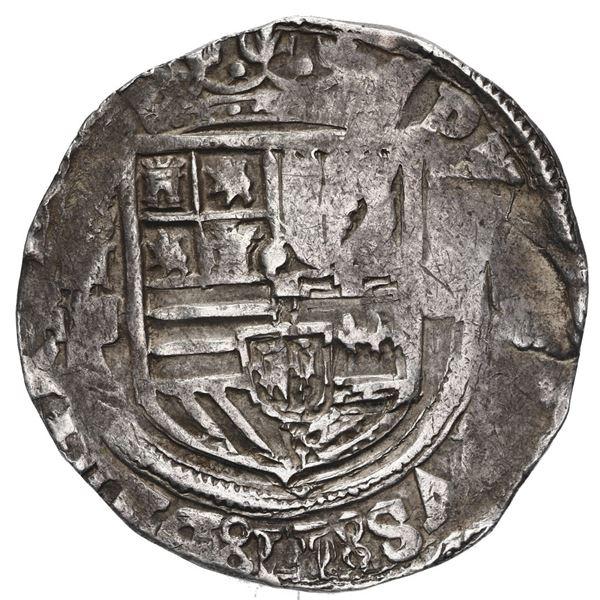 Mexico City, Mexico, cob 4 reales, Philip II, assayer F/O below mintmark oM to left, denomination o-