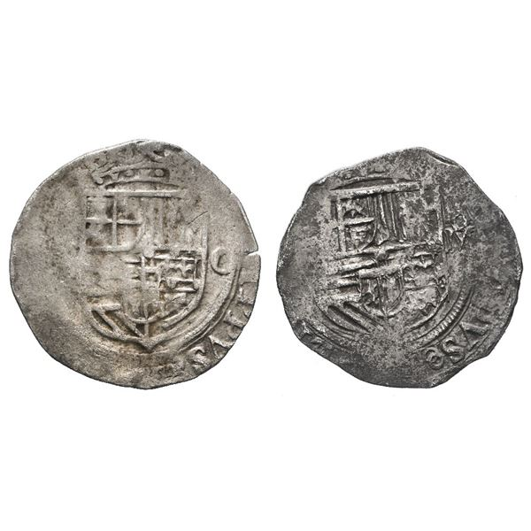 Lot of two Mexico City, Mexico, cob 1R, Philip II, assayer not visible (O).